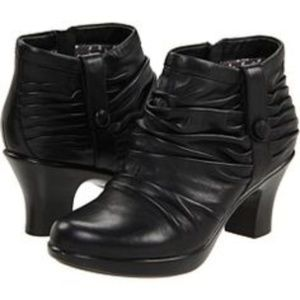 Dansko Buffy Ruched Black Leather Ankle Boots
